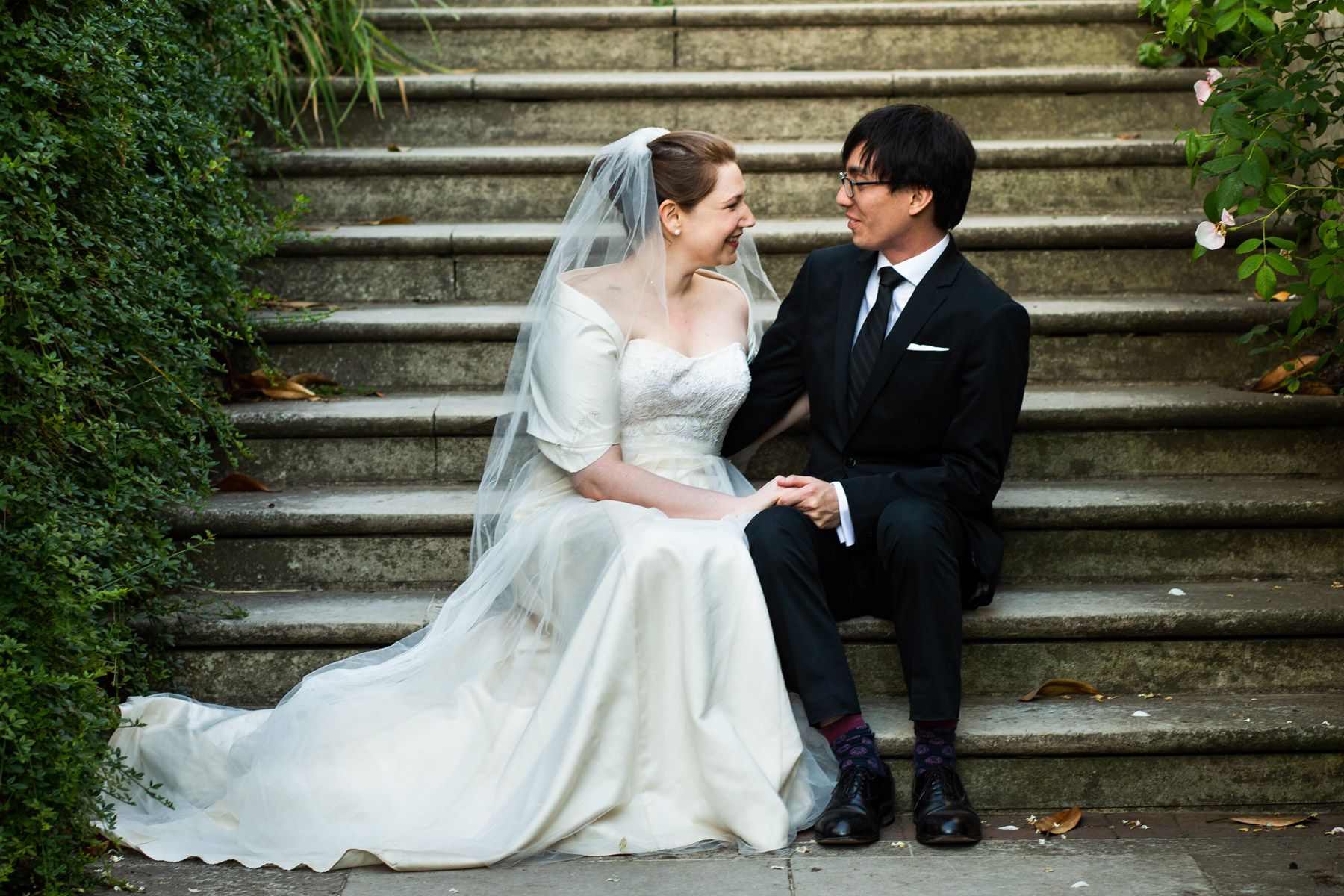 Relaxed and intimate photo of bride and groom
