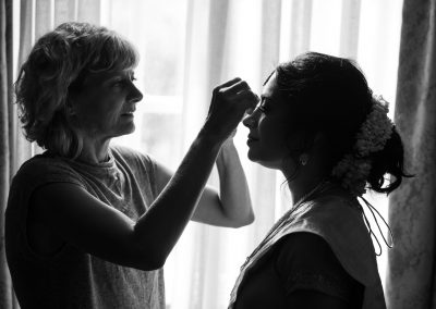 Bride getting ready at Grovesnor House in Mayfair, London