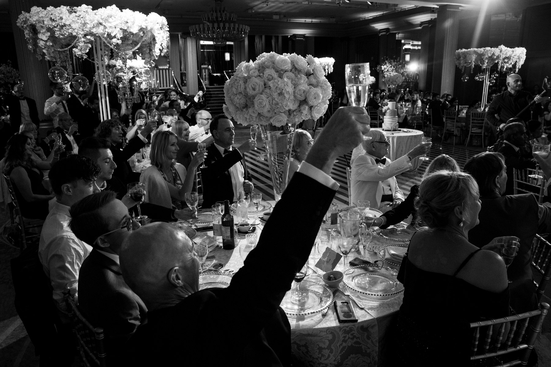 Relaxed toast for bride and groom