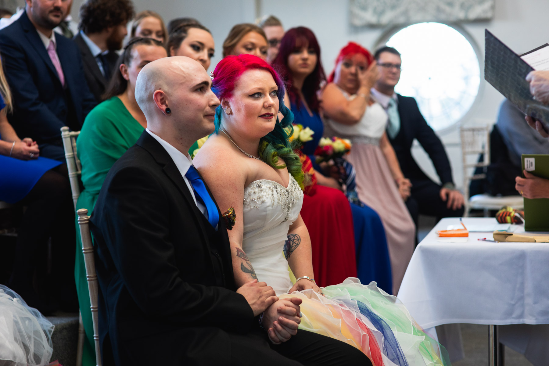 Colourful and intimate moment of wedding ceremony