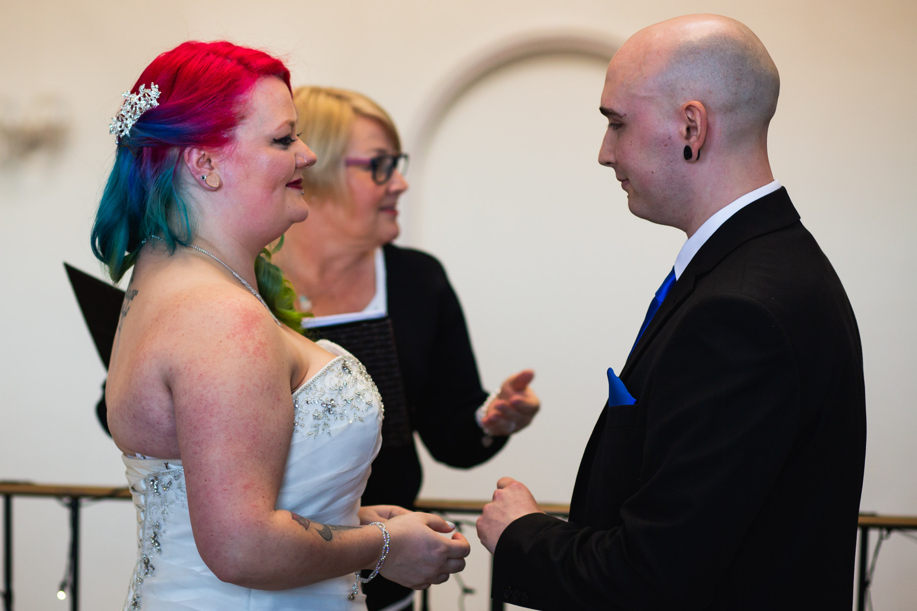 Bride and groom giving their vowels