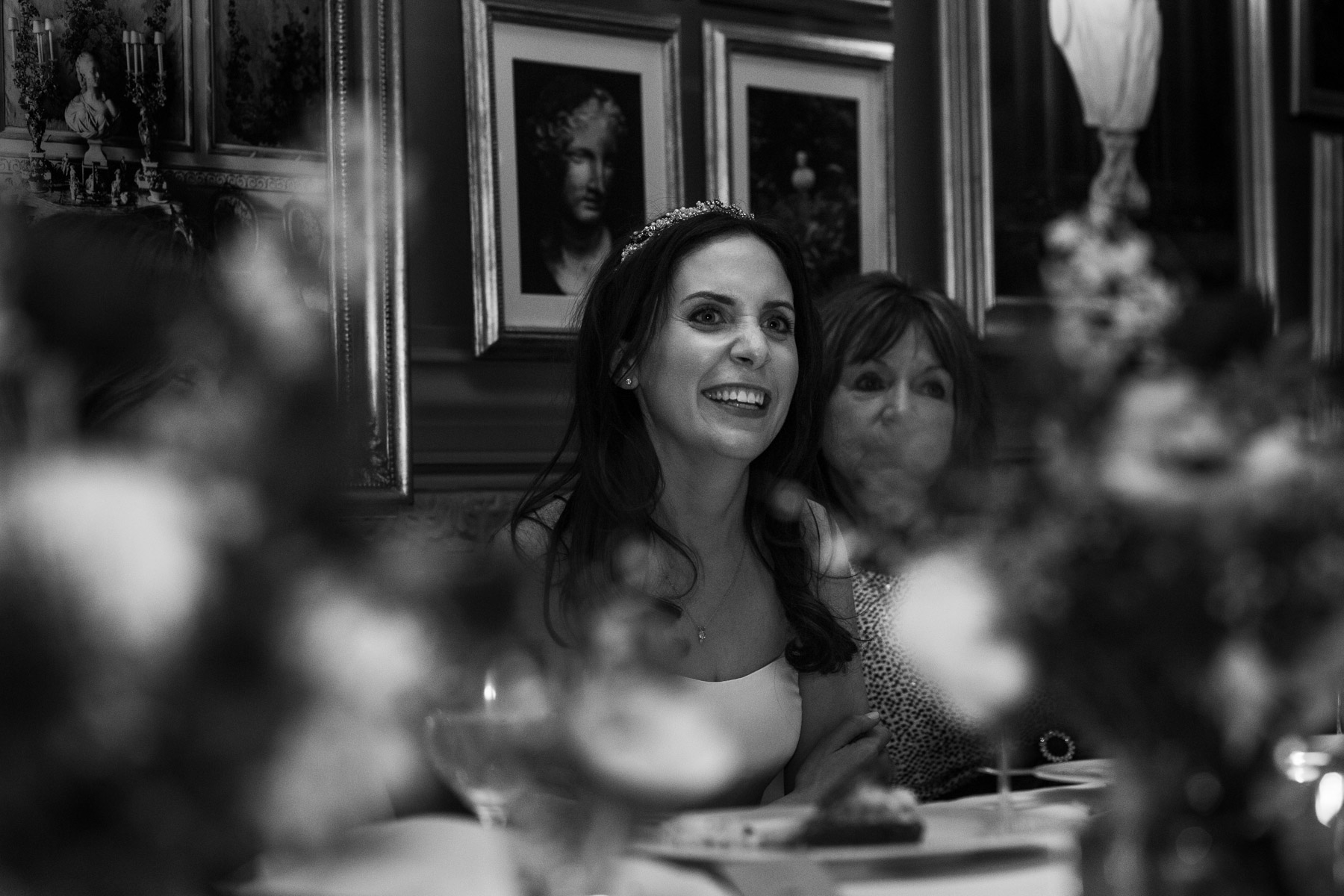 Relaxed bride listening to speeches