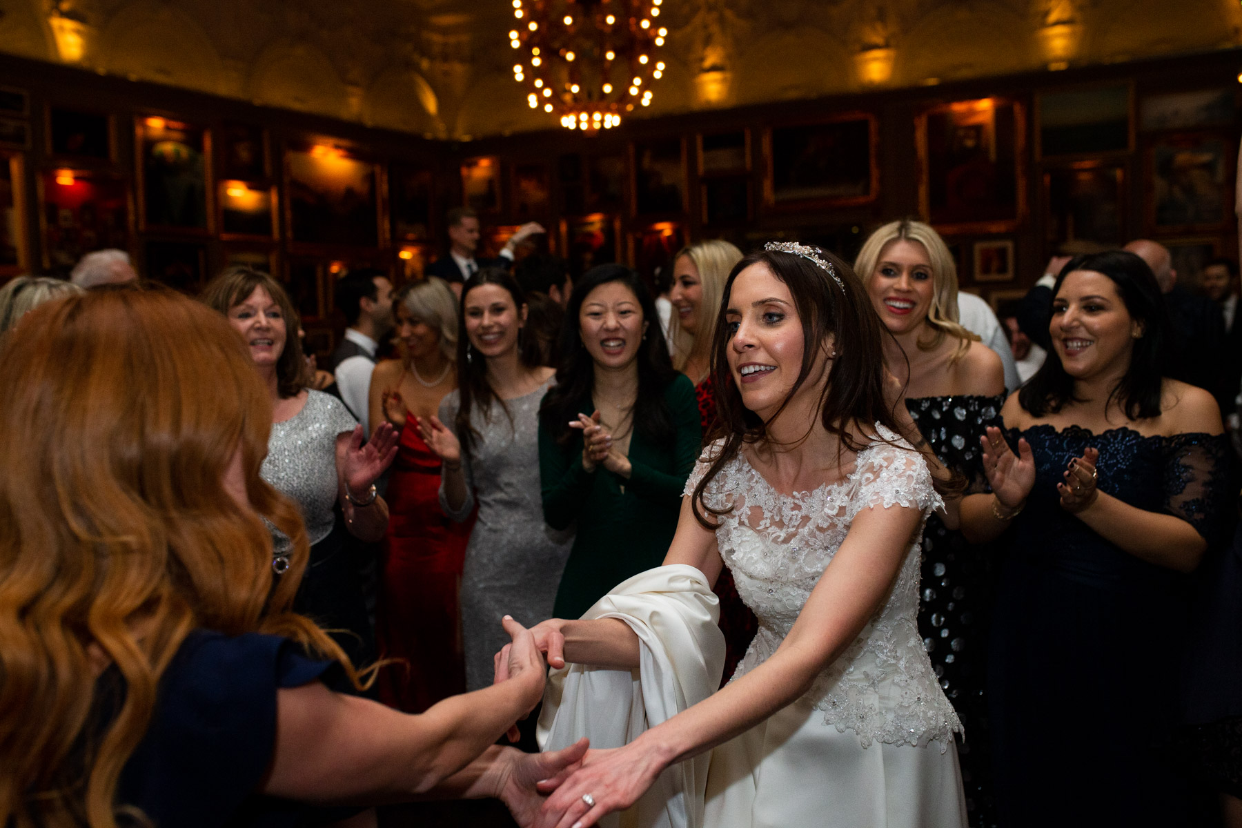 Romantic and relaxed photo of bride dancing