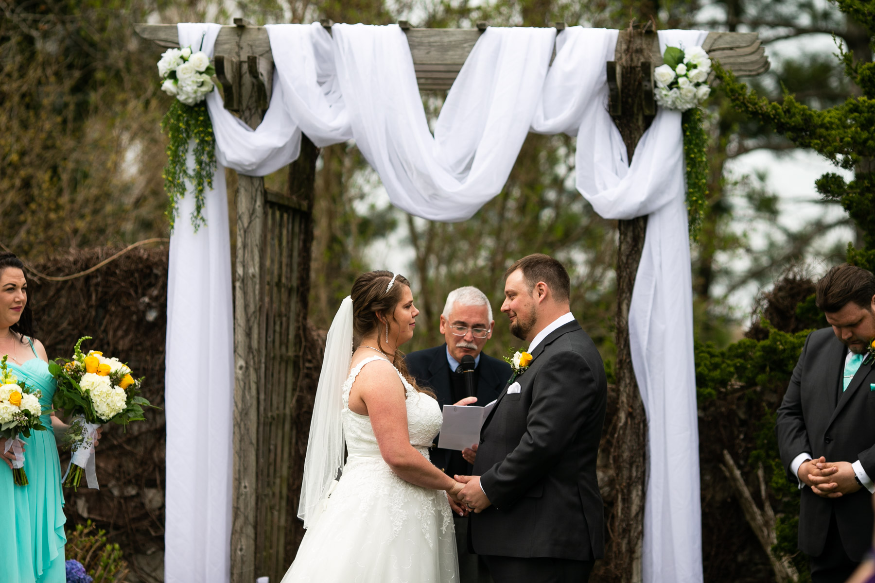 Fun and intimate moment of bride and groom