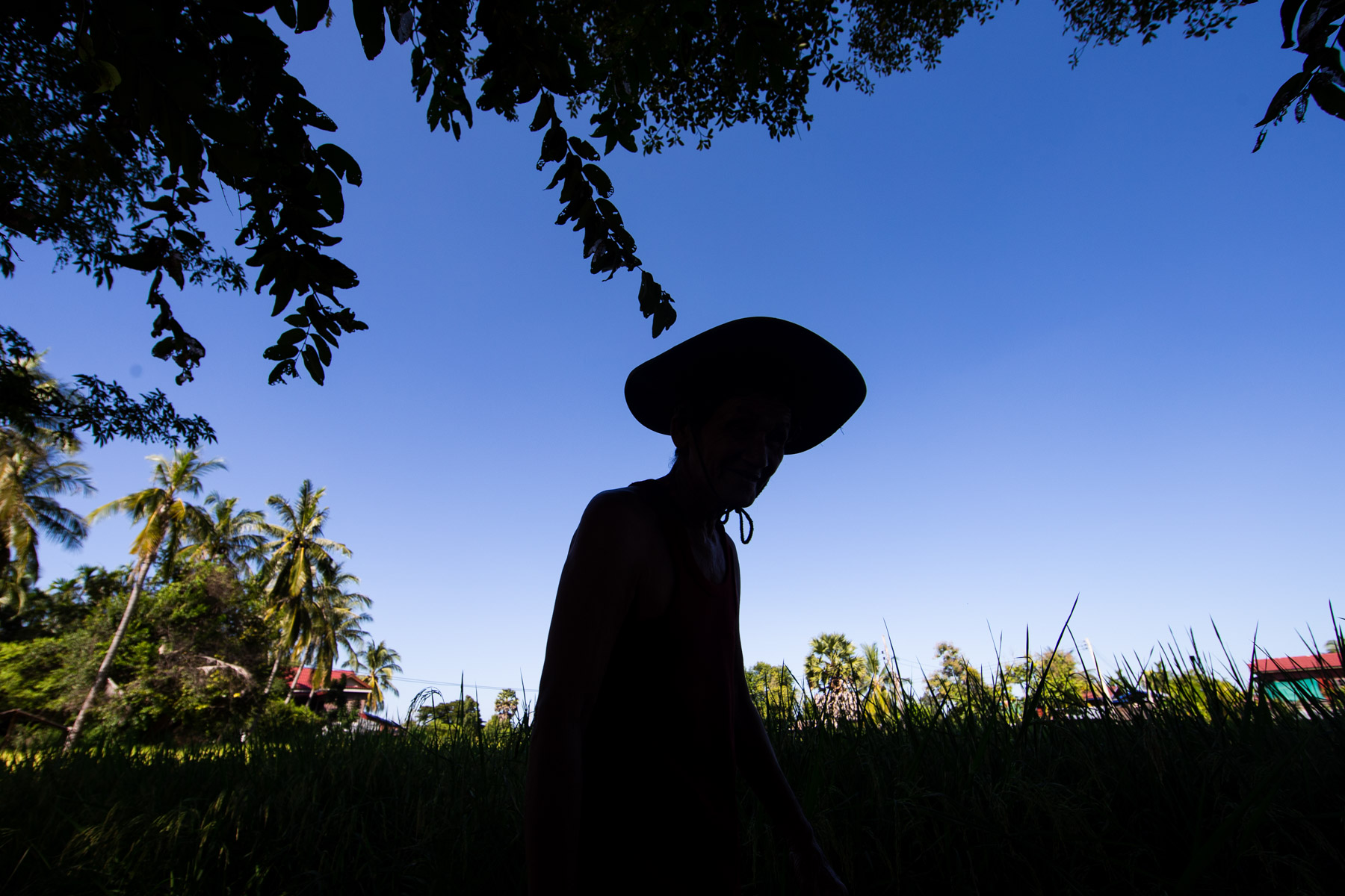 Wide angle silhouette of a man