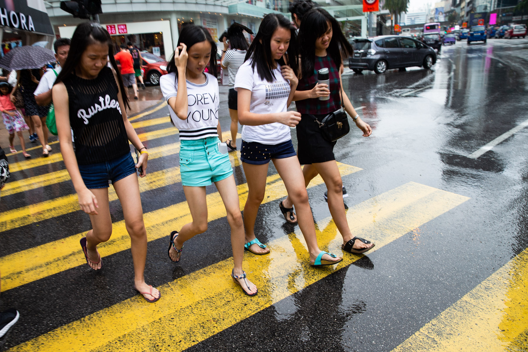 Group of girls walking across the road