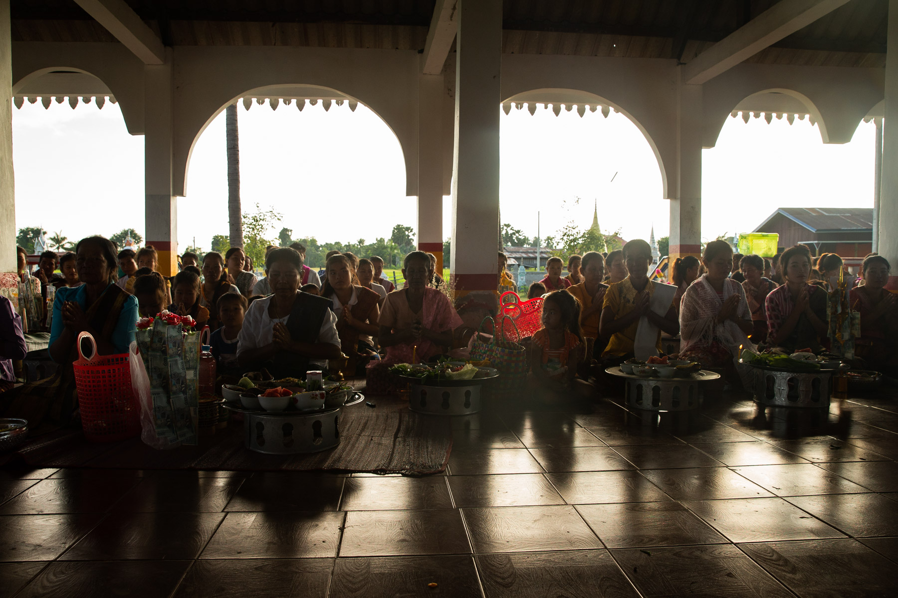 Wide angle photo of group of women at Temple ceremony