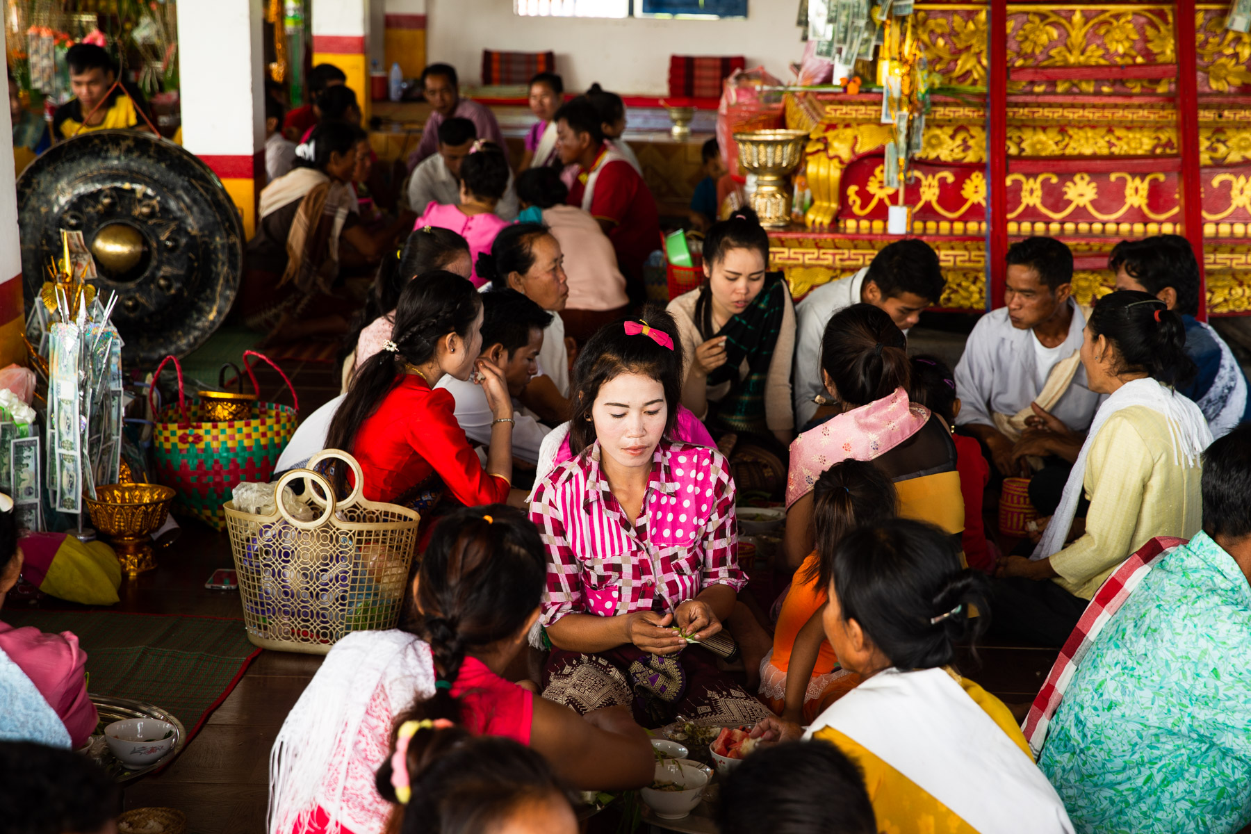 People getting ready at Temple ceremony