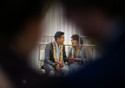 Romantic photo of bride and groom at the intimate wedding ceremony
