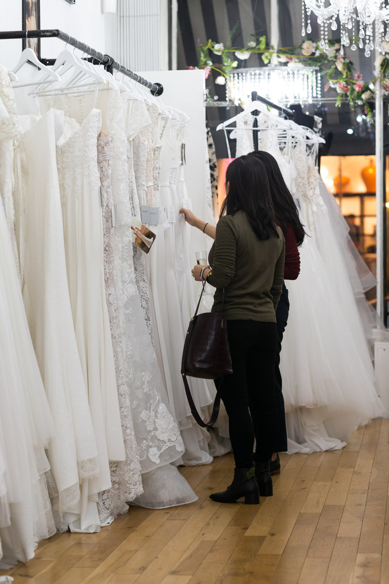 Potential clients buying wedding dress