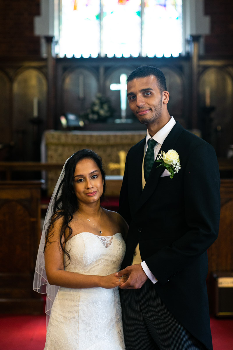 Bride and groom relax portrait
