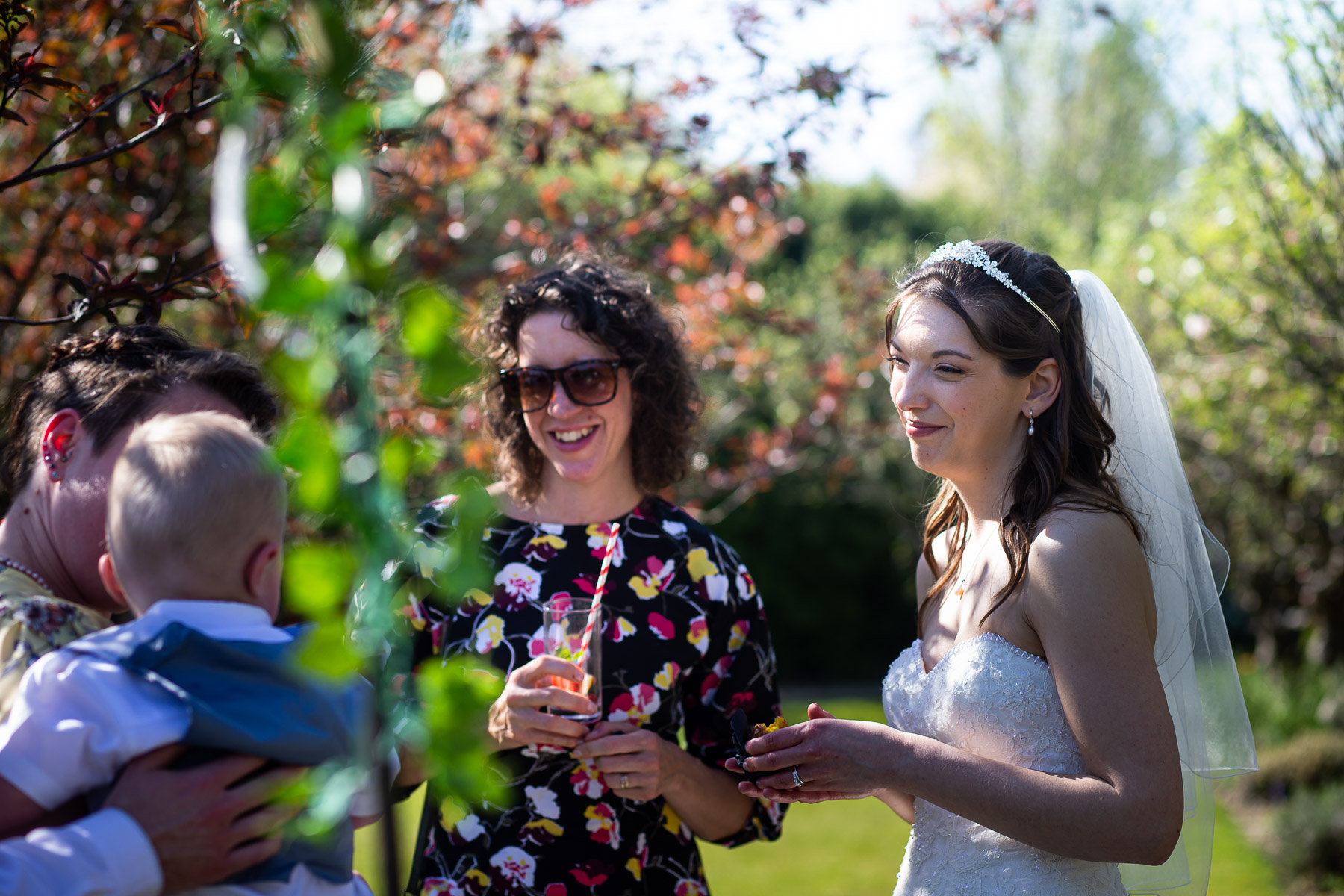 Bride relaxing with guests