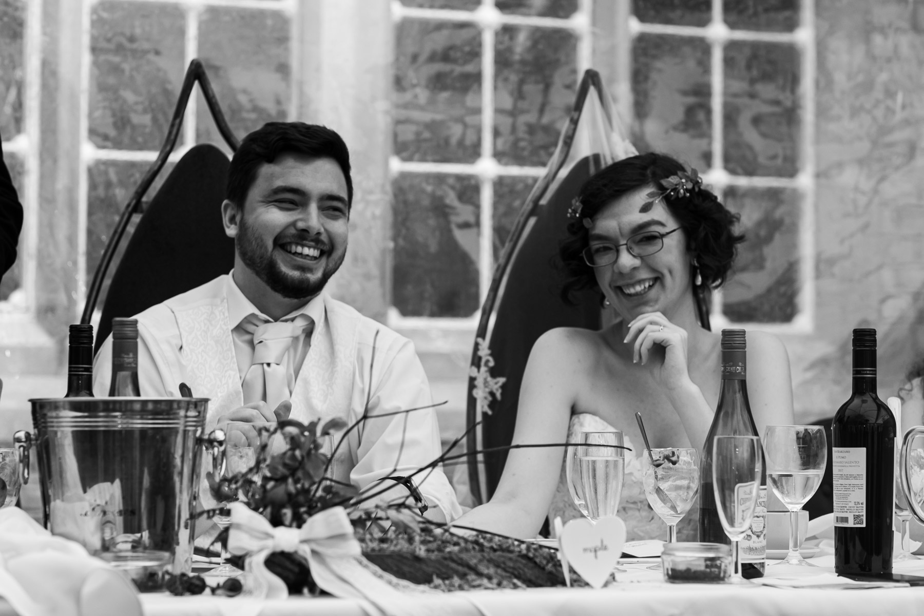 Relaxed bride and groom