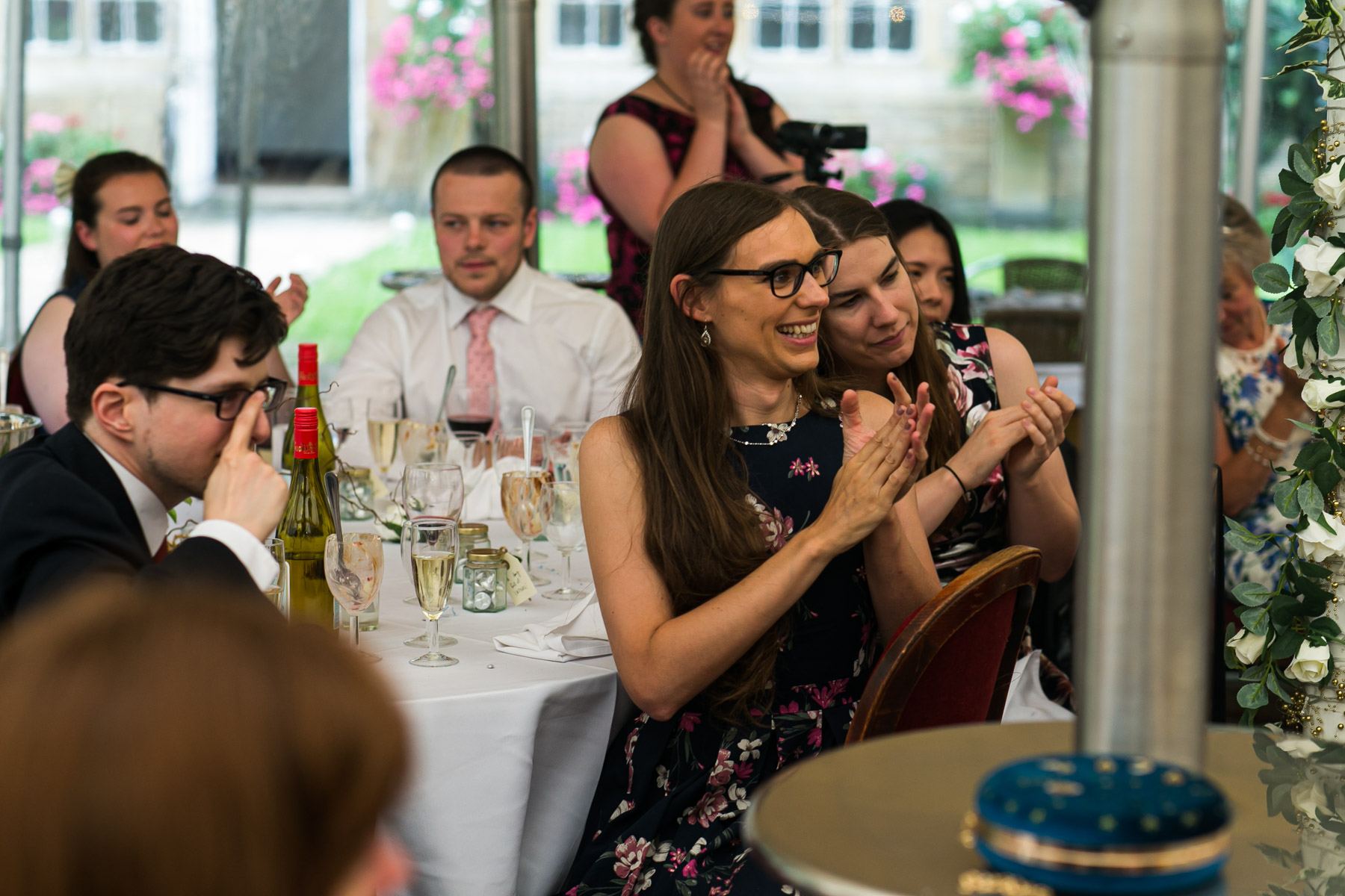 Relax wedding guests clapping